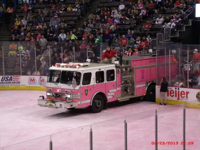 Deerfield Township's Pink Truck hits the ice.
