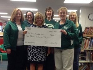 Jennifer, Tanya, Mrs. Montag, Tish, Janet and Diane presenting Holiday Workshop check to the PTO.
